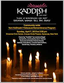 kaddish performance,crouse hinds theater, onondaga county civic center, on sunday, april 7, 2:30 pm